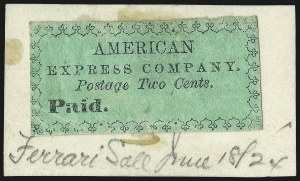 Sale Number 1063, Lot Number 1723, Local Posts: Adams thru Cummings & WrightAmerican Express Co., New York N.Y., 2c Black on Green (4L1), American Express Co., New York N.Y., 2c Black on Green (4L1)