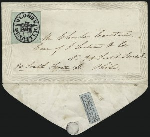 Sale Number 1063, Lot Number 1733, Local Posts: Adams thru Cummings & WrightBlood's City Despatch, Philadelphia Pa., (1c) Black on Pale Green (15L11), Blood's City Despatch, Philadelphia Pa., (1c) Black on Pale Green (15L11)