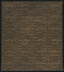Sale Number 1063, Lot Number 1735, Local Posts: Adams thru Cummings & WrightBlood's City Despatch, Philadelphia Pa., 1c Bronze on Black Glazed (15L13), Blood's City Despatch, Philadelphia Pa., 1c Bronze on Black Glazed (15L13)