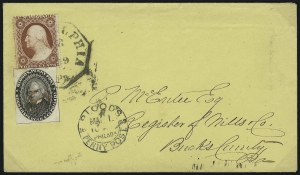 Sale Number 1063, Lot Number 1740, Local Posts: Adams thru Cummings & WrightBlood's Penny Post, Philadelphia Pa., (1c) Black (15L18), Blood's Penny Post, Philadelphia Pa., (1c) Black (15L18)