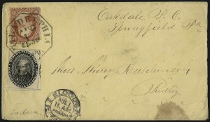 Sale Number 1063, Lot Number 1741, Local Posts: Adams thru Cummings & WrightBlood's Penny Post, Philadelphia Pa., (1c) Black (15L18), Blood's Penny Post, Philadelphia Pa., (1c) Black (15L18)