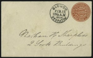 Sale Number 1063, Lot Number 1743, Local Posts: Adams thru Cummings & WrightBlood's City Despatch, Philadelphia Pa., (1c) Red on White entire (15LU5), Blood's City Despatch, Philadelphia Pa., (1c) Red on White entire (15LU5)