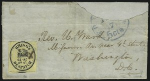 Sale Number 1063, Lot Number 1754, Local Posts: Adams thru Cummings & WrightBrigg's Despatch, Philadelphia Pa., (2c) Black on Yellow (25L1), Brigg's Despatch, Philadelphia Pa., (2c) Black on Yellow (25L1)