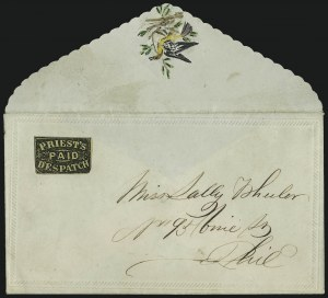 Sale Number 1063, Lot Number 1785, Local Posts cont: City Dispatch thru Whittelsey`s, Group LotsPriest's Despatch, Philadelphia Pa., (2c) Black on Yellow Wove (121L6), Priest's Despatch, Philadelphia Pa., (2c) Black on Yellow Wove (121L6)