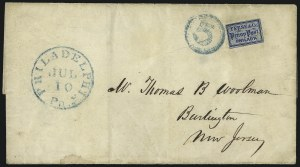 Sale Number 1063, Lot Number 1793, Local Posts cont: City Dispatch thru Whittelsey`s, Group LotsTeese & Co. Penny Post, Philadelphia Pa., (1c) Blue on Bluish (137L1), Teese & Co. Penny Post, Philadelphia Pa., (1c) Blue on Bluish (137L1)