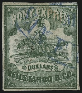 Sale Number 1063, Lot Number 1836, Western Mails cont: Transcontinental and Virginia City Pony ExpressWells, Fargo & Co. Pony Express, $4.00 Green (143L2), Wells, Fargo & Co. Pony Express, $4.00 Green (143L2)