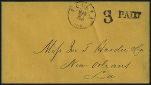 Sale Number 1063, Lot Number 2140, Confederate Use of U.S. Stamps and Confederate Postmasters ProvisionalsHelena Ark. Mar. 24, 1861, Helena Ark. Mar. 24, 1861
