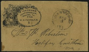 Sale Number 1063, Lot Number 2144, Confederate Use of U.S. Stamps and Confederate Postmasters ProvisionalsDanville Va., 5c Black on Dark Buff entire (21XU3), Danville Va., 5c Black on Dark Buff entire (21XU3)