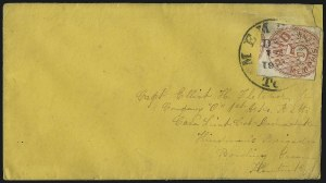 Sale Number 1063, Lot Number 2145, Confederate Use of U.S. Stamps and Confederate Postmasters ProvisionalsMemphis Tenn., 5c Red (56X2), Memphis Tenn., 5c Red (56X2)