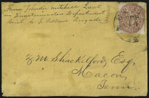 Sale Number 1063, Lot Number 2146, Confederate Use of U.S. Stamps and Confederate Postmasters ProvisionalsMemphis Tenn., 5c Red (56X2), Memphis Tenn., 5c Red (56X2)
