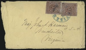 Sale Number 1063, Lot Number 2151, Confederate Use of U.S. Stamps and Confederate Postmasters ProvisionalsNashville Tenn., 5c Dark Carmine (61X2), Nashville Tenn., 5c Dark Carmine (61X2)