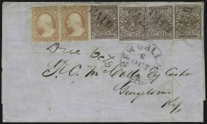 Sale Number 1063, Lot Number 2155, Confederate Use of U.S. Stamps and Confederate Postmasters ProvisionalsNew Orleans La., 5c Red Brown on Bluish (62X4), New Orleans La., 5c Red Brown on Bluish (62X4)