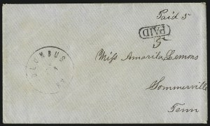 Sale Number 1063, Lot Number 2174, Handstamped Paid and Due MarkingsColumbus Ky, Columbus Ky