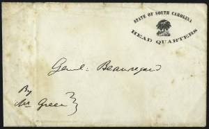 Sale Number 1065, Lot Number 485, Official Imprints and Robert E. Lee CoverState of South Carolina, Head Quarters, State of South Carolina, Head Quarters