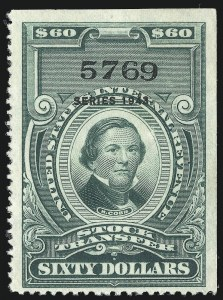 "Sale Number 1066, Lot Number 191, Stock Transfer$60.00 Bright Green, ""Series 1943"" Ovpt., Stock Transfer (RD159), $60.00 Bright Green, ""Series 1943"" Ovpt., Stock Transfer (RD159)"