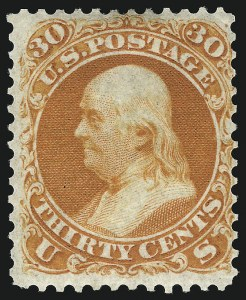 Sale Number 1067, Lot Number 1002, 1861-66 Issue (Scott 61-70c)30c Red Orange, First Color (61), 30c Red Orange, First Color (61)