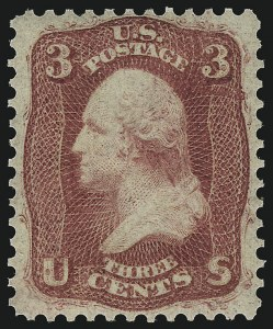 Sale Number 1067, Lot Number 1003, 1861-66 Issue (Scott 61-70c)3c Brown Rose, First Design (56). Mint N.H, 3c Brown Rose, First Design (56). Mint N.H
