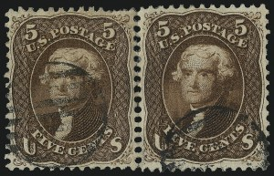 Sale Number 1067, Lot Number 1058, 1861-66 Issue, cont. (Scott 71-78b)5c Red Brown (75), 5c Red Brown (75)