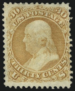 Sale Number 1067, Lot Number 1088, 1867-68 Grilled Issue and 1875 Re-Issue of 1861 Issue (Scott 84-111)30c Orange, F. Grill (100), 30c Orange, F. Grill (100)