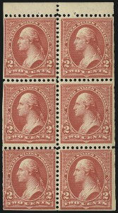 Sale Number 1067, Lot Number 1294, 1894-98 Bureau Issues (Scott 247-284)2c Red, Ty. IV, Booklet Pane of Six, Horizontal Wmk. (279Bj), 2c Red, Ty. IV, Booklet Pane of Six, Horizontal Wmk. (279Bj)