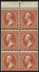 Sale Number 1067, Lot Number 1297, 1894-98 Bureau Issues (Scott 247-284)2c Red, Ty. IV, Booklet Panes of Six, Vertical Wmk. (279Bk), 2c Red, Ty. IV, Booklet Panes of Six, Vertical Wmk. (279Bk)