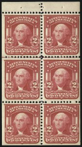 Sale Number 1067, Lot Number 1384, 1902-08 Issues (Scott 300-319)2c Carmine, Ty. I, Booklet Pane of Six (319g), 2c Carmine, Ty. I, Booklet Pane of Six (319g)