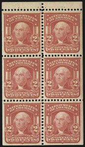 Sale Number 1067, Lot Number 1387, 1902-08 Issues (Scott 300-319)2c Carmine, Ty. I, Booklet Pane of Six (319g), 2c Carmine, Ty. I, Booklet Pane of Six (319g)