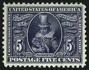 Sale Number 1067, Lot Number 1412, Louisiana Purchase, Jamestown and 1908-09 Issues (Scott 323-366)5c Jamestown (330), 5c Jamestown (330)