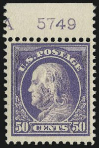 Sale Number 1067, Lot Number 1513, 1912-14 Issues (Scott 407-446)50c Violet (422), 50c Violet (422)