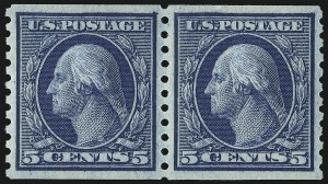 Sale Number 1067, Lot Number 1544, 1915-18 Issues (Scott 448-496)5c Blue, Coil (458), 5c Blue, Coil (458)