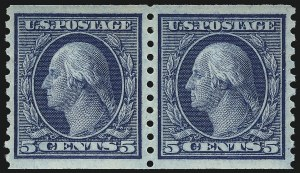 Sale Number 1067, Lot Number 1545, 1915-18 Issues (Scott 448-496)5c Blue, Coil (458), 5c Blue, Coil (458)