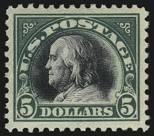 Sale Number 1067, Lot Number 1599, 1918-22 Issues (Scott 505-550)$5.00 Deep Green & Black (524), $5.00 Deep Green & Black (524)