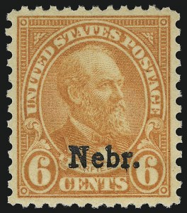 Sale Number 1067, Lot Number 1628, 1922-26 and Later Issues (Scott 555-1058a)6c Nebr. Ovpt. (675), 6c Nebr. Ovpt. (675)