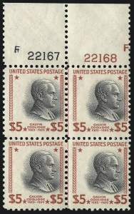 Sale Number 1067, Lot Number 1632, 1922-26 and Later Issues (Scott 555-1058a)$5.00 Presidential (834), $5.00 Presidential (834)