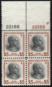 Sale Number 1067, Lot Number 1633, 1922-26 and Later Issues (Scott 555-1058a)$5.00 Presidential (834), $5.00 Presidential (834)