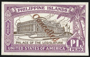 "Sale Number 1067, Lot Number 1944, U.S. Possessions: Philippines, 1906-45PHILIPPINES, 1926, 2c-1p Legislative Palace Issue, Imperforate on Glazed Cards, ""Cancelled"" Ovpt. (319S-S var-325S-S var), PHILIPPINES, 1926, 2c-1p Legislative Palace Issue, Imperforate on Glazed Cards, ""Cancelled"" Ovpt. (319S-S var-325S-S var)"