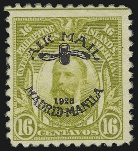 Sale Number 1067, Lot Number 1955, U.S. Possessions: Philippines, Air Post thru Postage DuePHILIPPINES, 1926, 16c Light Olive Green, Air Post (C7), PHILIPPINES, 1926, 16c Light Olive Green, Air Post (C7)