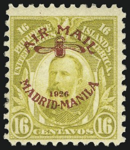 Sale Number 1067, Lot Number 1956, U.S. Possessions: Philippines, Air Post thru Postage DuePHILIPPINES, 1926, 16c Olive Bister, Air Post (C8), PHILIPPINES, 1926, 16c Olive Bister, Air Post (C8)