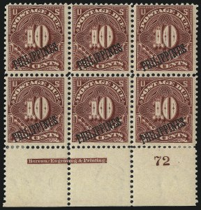 Sale Number 1067, Lot Number 1974, U.S. Possessions: Philippines, Air Post thru Postage DuePHILIPPINES, 1899, 1c-10c Postage Due (J1-J4), PHILIPPINES, 1899, 1c-10c Postage Due (J1-J4)