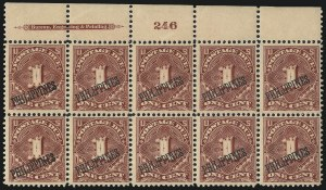 Sale Number 1067, Lot Number 1975, U.S. Possessions: Philippines, Air Post thru Postage DuePHILIPPINES, 1899, 1c Deep Claret, Postage Due (J1), PHILIPPINES, 1899, 1c Deep Claret, Postage Due (J1)