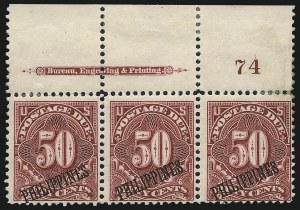 Sale Number 1067, Lot Number 1984, U.S. Possessions: Philippines, Air Post thru Postage DuePHILIPPINES, 1899, 50c Deep Claret, Postage Due (J5), PHILIPPINES, 1899, 50c Deep Claret, Postage Due (J5)