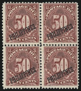 Sale Number 1067, Lot Number 1985, U.S. Possessions: Philippines, Air Post thru Postage DuePHILIPPINES, 1899, 50c Deep Claret, Postage Due (J5), PHILIPPINES, 1899, 50c Deep Claret, Postage Due (J5)