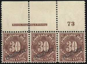 Sale Number 1067, Lot Number 1988, U.S. Possessions: Philippines, Air Post thru Postage DuePHILIPPINES, 1901, 30c Deep Claret, Postage Due (J7), PHILIPPINES, 1901, 30c Deep Claret, Postage Due (J7)