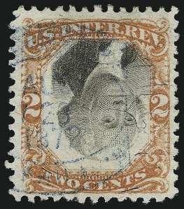 Sale Number 1067, Lot Number 565, Revenues: Second and Third Issues2c Orange & Black, Third Issue, Center Inverted (R135b), 2c Orange & Black, Third Issue, Center Inverted (R135b)