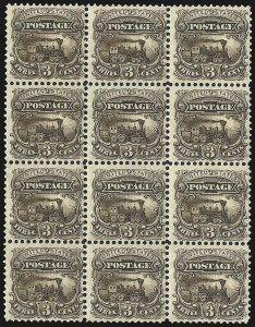 Sale Number 1067, Lot Number 795, Essays and Proofs, Specimen Ovpts.3c Black Brown, Small Numeral, Plate Essay on Stamp Paper, Perforated 12, Grilled (114-E6d). Mint N.H, 3c Black Brown, Small Numeral, Plate Essay on Stamp Paper, Perforated 12, Grilled (114-E6d). Mint N.H