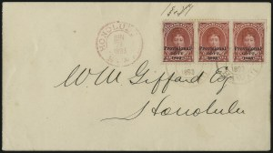 "Sale Number 1068, Lot Number 1011, Hawaii: 1893 Provisional Ovpts.HAWAII, 1893, $1.00 Rose Red, Black Ovpt., No Period After ""Govt"" (73b), HAWAII, 1893, $1.00 Rose Red, Black Ovpt., No Period After ""Govt"" (73b)"