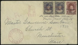 Sale Number 1068, Lot Number 1012, Hawaii: 1893 Provisional Ovpts.HAWAII, 1893, $1.00 Rose Red, Black Ovpt. (73), HAWAII, 1893, $1.00 Rose Red, Black Ovpt. (73)