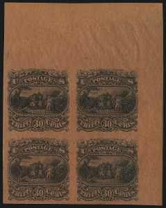Sale Number 1068, Lot Number 119, 1869 Pictorial Issue and 1875 Re-Issue30c Black, Burgoyne Plate Essay on Thin Surface Salmon Red Tinted Paper (121-E1p), 30c Black, Burgoyne Plate Essay on Thin Surface Salmon Red Tinted Paper (121-E1p)