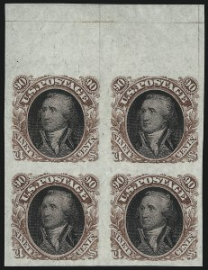 Sale Number 1068, Lot Number 120, 1869 Pictorial Issue and 1875 Re-Issue90c Red Brown & Black, Washington Plate Essay on Stamp Paper (122-E2b), 90c Red Brown & Black, Washington Plate Essay on Stamp Paper (122-E2b)