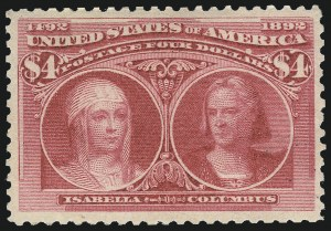 Sale Number 1068, Lot Number 185, 1893 Columbian thru 1894-98 Issues$4.00 Columbian (244), $4.00 Columbian (244)